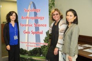 Hisako Matsuo, Ph.D. (right), the principal investigator of the grant, poses with Julia Ostropolsky (center), CEO of BIAS, and co-PI Lisa Willoughby, Ph.D. (left). Photo by Xiaoyu Wu, aviation science graduate student