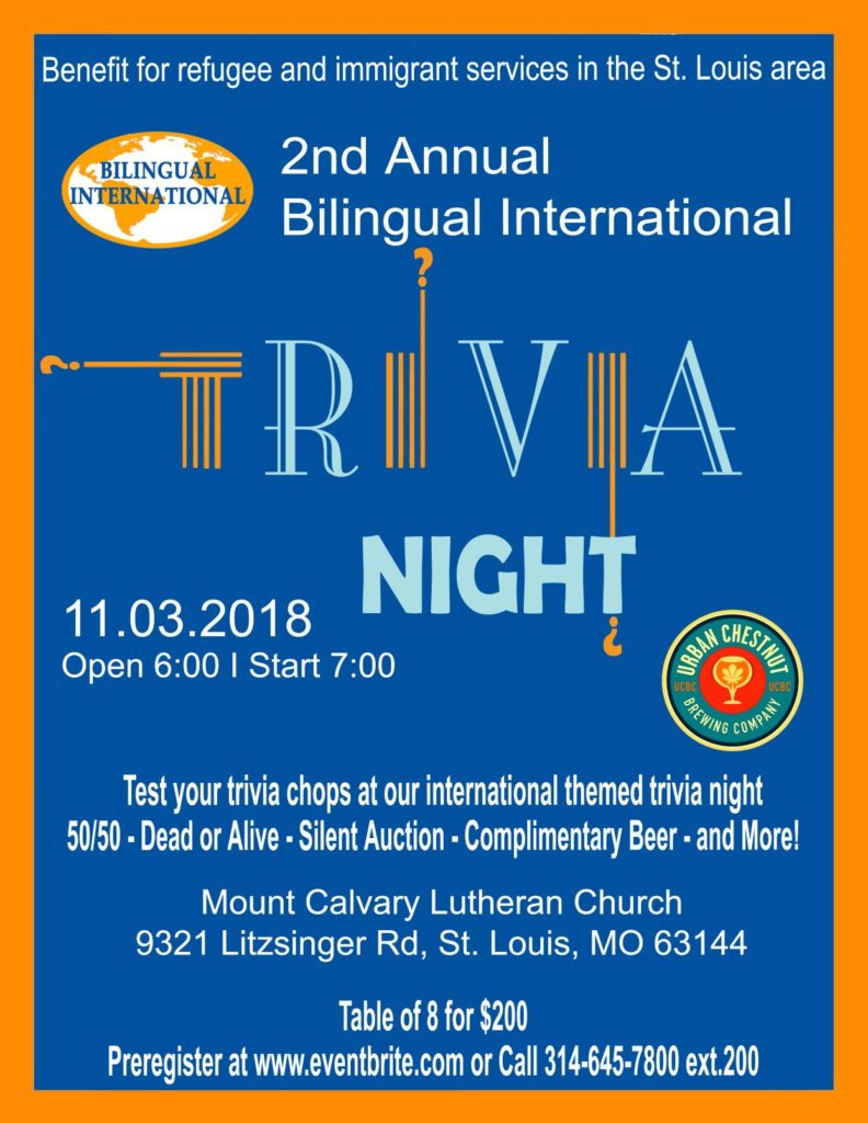 2nd Annual Bilingual International Trivia Night – 11/3/18